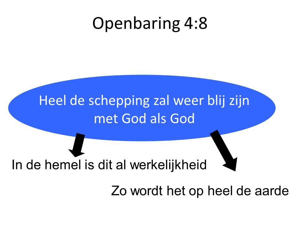 Openbaring 4:8 Heilig = anders, van een andere categorie Heel de schepping zal weer blij zijn met God als God In de hemel is dit al werkelijkheid Zo w