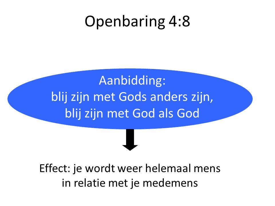 Openbaring 4:8 Aanbidding: blij zijn met Gods anders zijn, blij zijn met God als God Effect: je wordt weer helemaal mens in relatie met je medemens