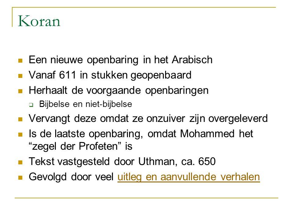 Koran Een nieuwe openbaring in het Arabisch Vanaf 611 in stukken geopenbaard Herhaalt de voorgaande openbaringen  Bijbelse en niet-bijbelse Vervangt