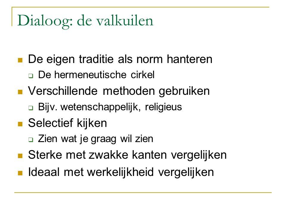 Dialoog: de valkuilen De eigen traditie als norm hanteren  De hermeneutische cirkel Verschillende methoden gebruiken  Bijv. wetenschappelijk, religi