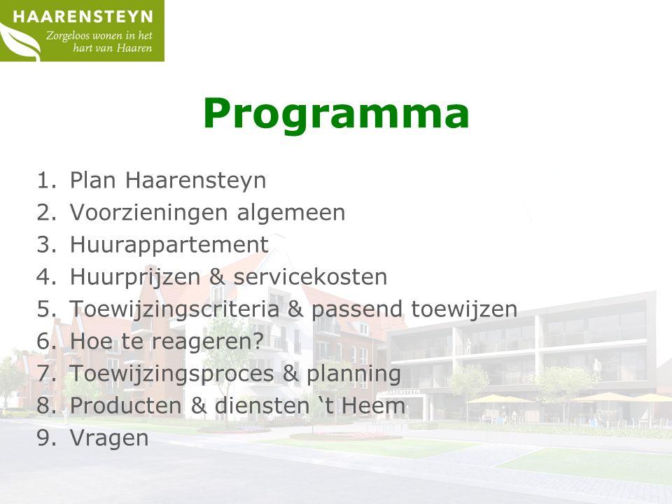 Programma 1.Plan Haarensteyn 2.Voorzieningen algemeen 3.Huurappartement 4.Huurprijzen & servicekosten 5.Toewijzingscriteria & passend toewijzen 6.Hoe te reageren.