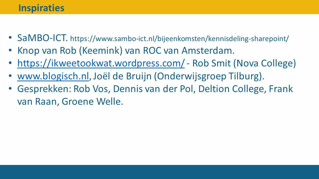 Inspiraties SaMBO-ICT. https://www.sambo-ict.nl/bijeenkomsten/kennisdeling-sharepoint/ Knop van Rob (Keemink) van ROC van Amsterdam. https://ikweetook