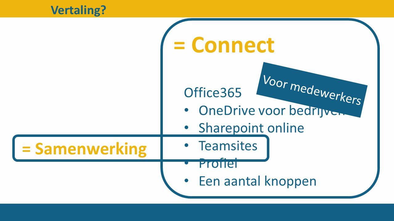 Vertaling? Office365 OneDrive voor bedrijven Sharepoint online Teamsites Profiel Een aantal knoppen Voor medewerkers = Connect = Samenwerking