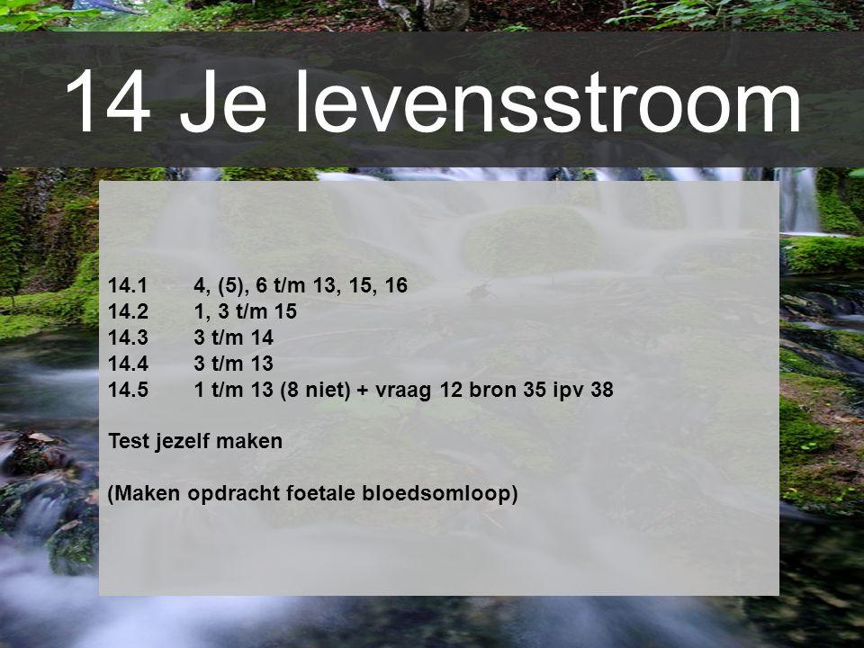 14 Je levensstroom 14.1 4, (5), 6 t/m 13, 15, 16 14.21, 3 t/m 15 14.33 t/m 14 14.43 t/m 13 14.51 t/m 13 (8 niet) + vraag 12 bron 35 ipv 38 Test jezelf
