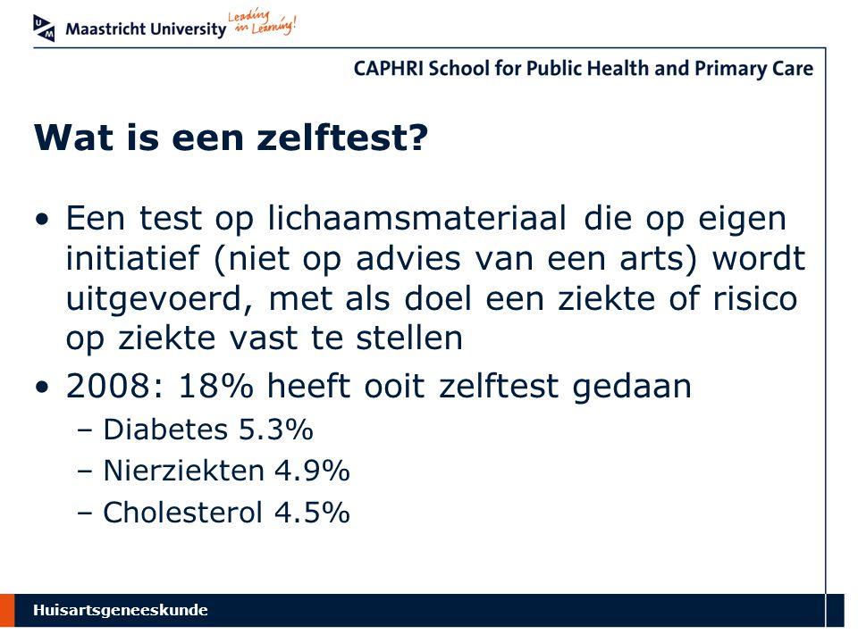 Huisartsgeneeskunde Resultaten Cholesterol Interventie (N=217) Controle (N=240) P Kennis voldoende47%42%0.301 Kennis (continu)8.588.420.682 Intentie positief88%90%0.451 Attitude positief52% 1.000 Informed choice24%23%0.824