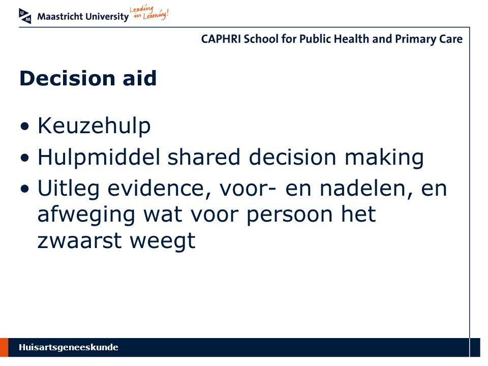 Huisartsgeneeskunde Decision aid Keuzehulp Hulpmiddel shared decision making Uitleg evidence, voor- en nadelen, en afweging wat voor persoon het zwaarst weegt