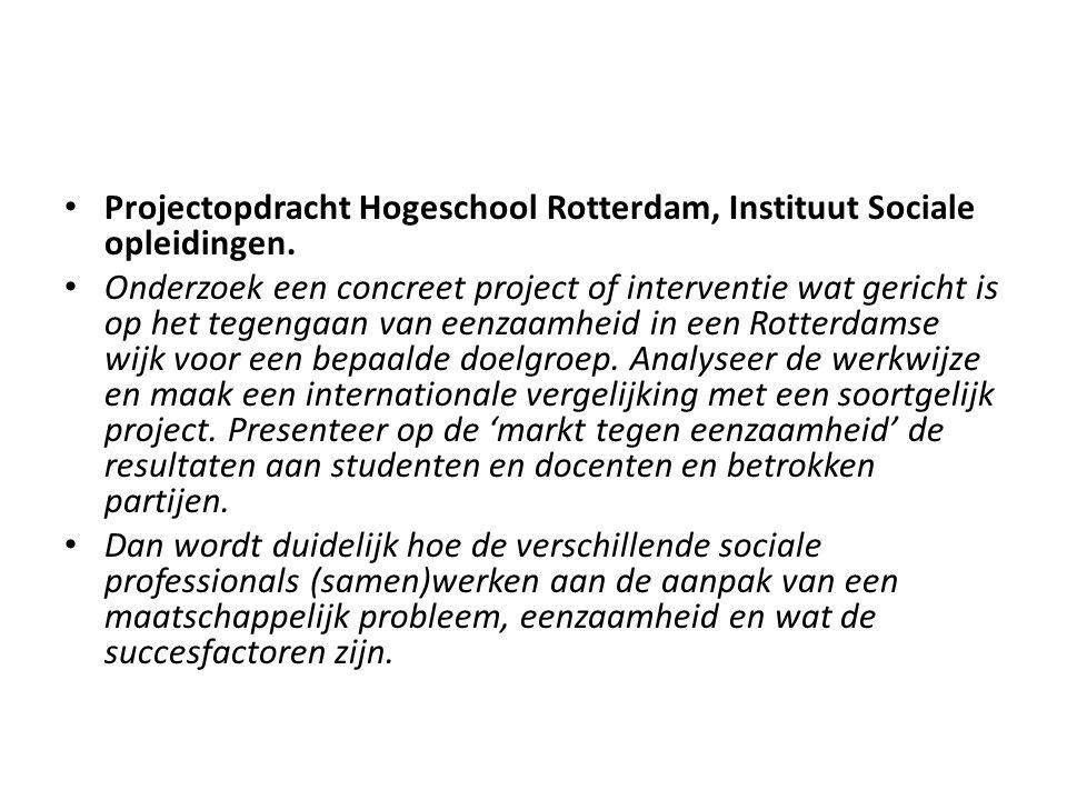 Projectopdracht Hogeschool Rotterdam, Instituut Sociale opleidingen.
