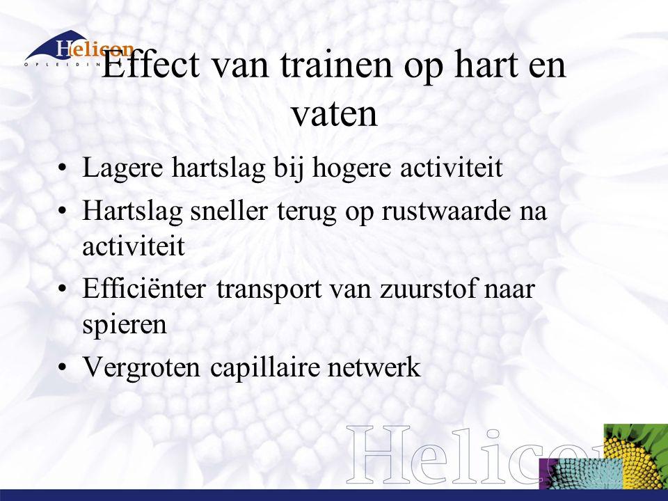 Effect van trainen op hart en vaten Lagere hartslag bij hogere activiteit Hartslag sneller terug op rustwaarde na activiteit Efficiënter transport van zuurstof naar spieren Vergroten capillaire netwerk