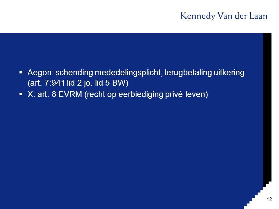  Aegon: schending mededelingsplicht, terugbetaling uitkering (art. 7:941 lid 2 jo. lid 5 BW)  X: art. 8 EVRM (recht op eerbiediging privé-leven) 12