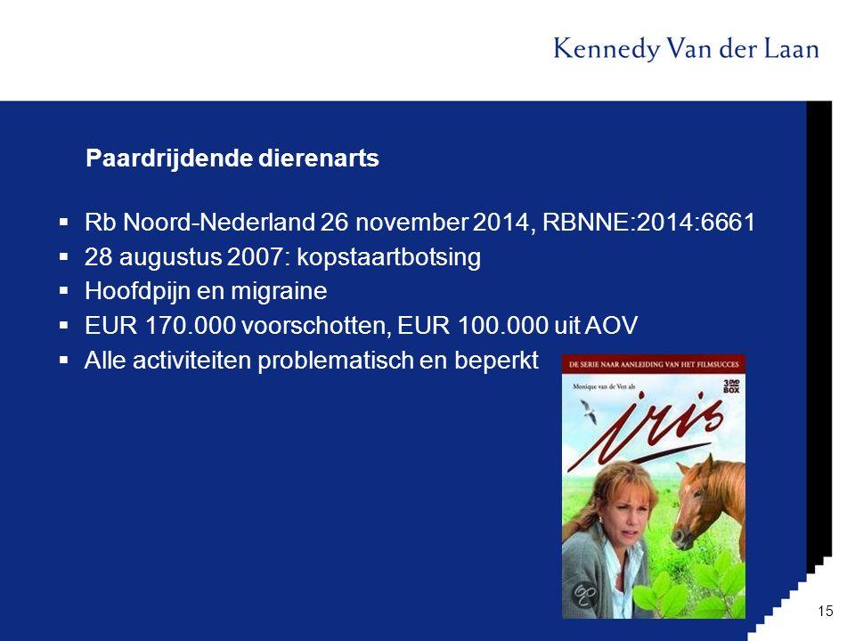 Paardrijdende dierenarts  Rb Noord-Nederland 26 november 2014, RBNNE:2014:6661  28 augustus 2007: kopstaartbotsing  Hoofdpijn en migraine  EUR 170