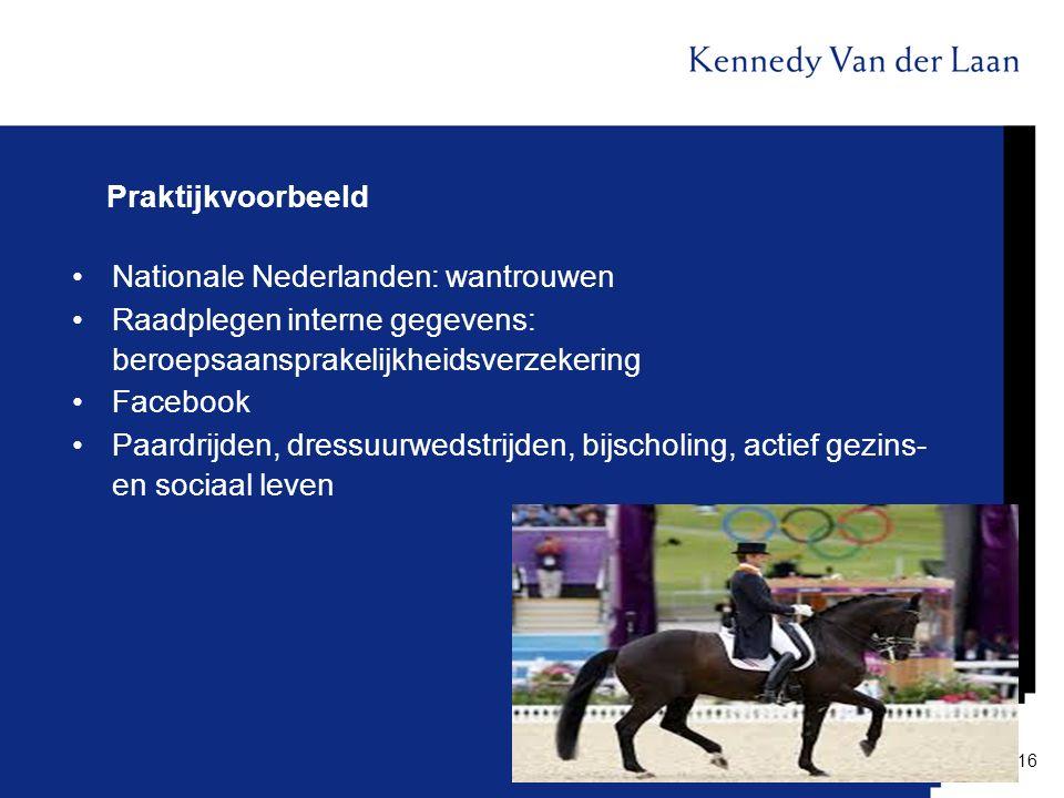 Praktijkvoorbeeld Nationale Nederlanden: wantrouwen Raadplegen interne gegevens: beroepsaansprakelijkheidsverzekering Facebook Paardrijden, dressuurwe
