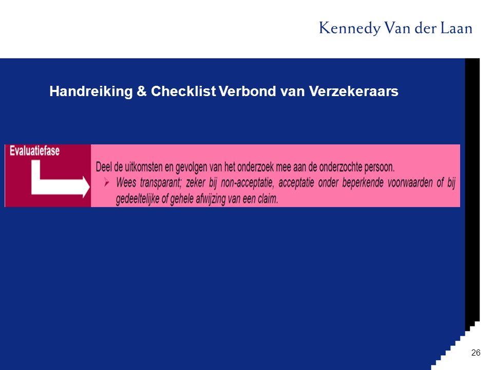 Handreiking & Checklist Verbond van Verzekeraars 26