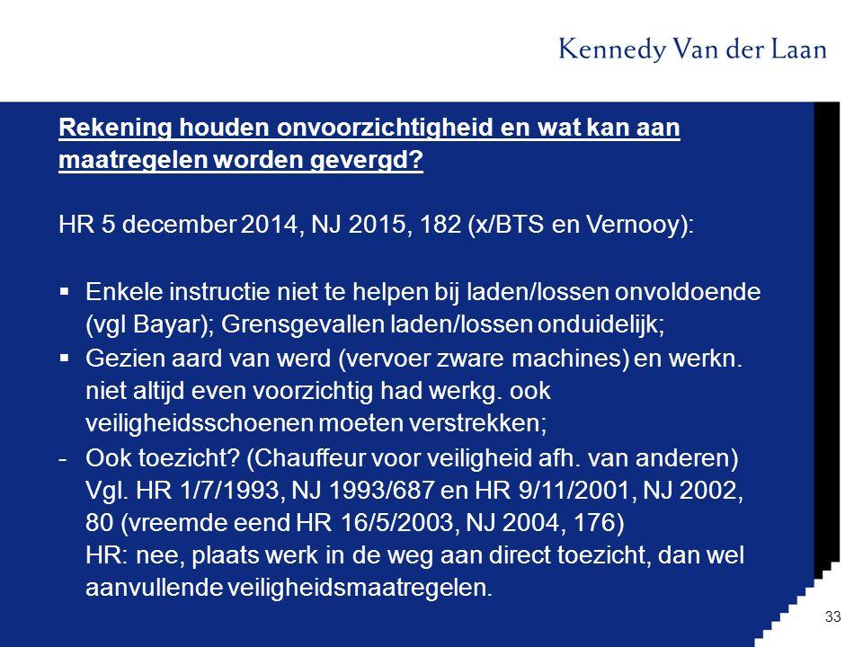 Rekening houden onvoorzichtigheid en wat kan aan maatregelen worden gevergd? HR 5 december 2014, NJ 2015, 182 (x/BTS en Vernooy):  Enkele instructie