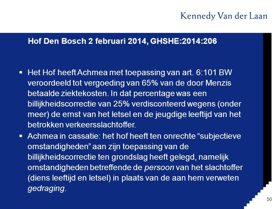 Hof Den Bosch 2 februari 2014, GHSHE:2014:206  Het Hof heeft Achmea met toepassing van art. 6:101 BW veroordeeld tot vergoeding van 65% van de door M