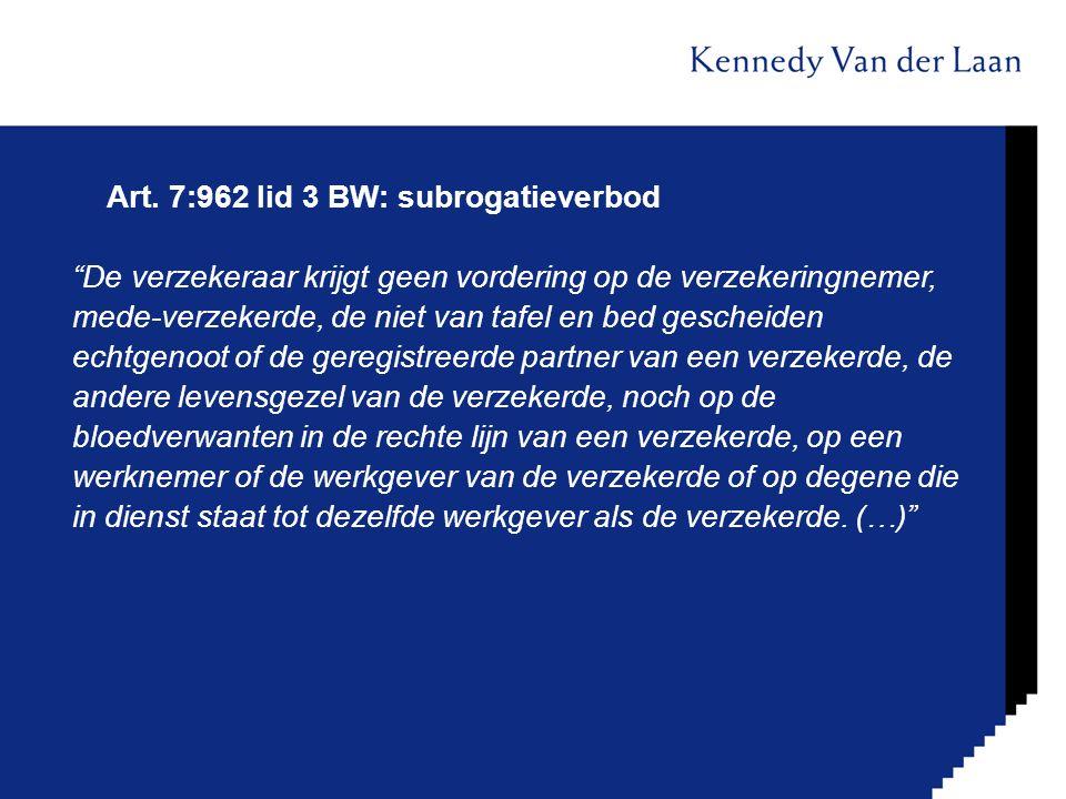 """Art. 7:962 lid 3 BW: subrogatieverbod """"De verzekeraar krijgt geen vordering op de verzekeringnemer, mede-verzekerde, de niet van tafel en bed gescheid"""