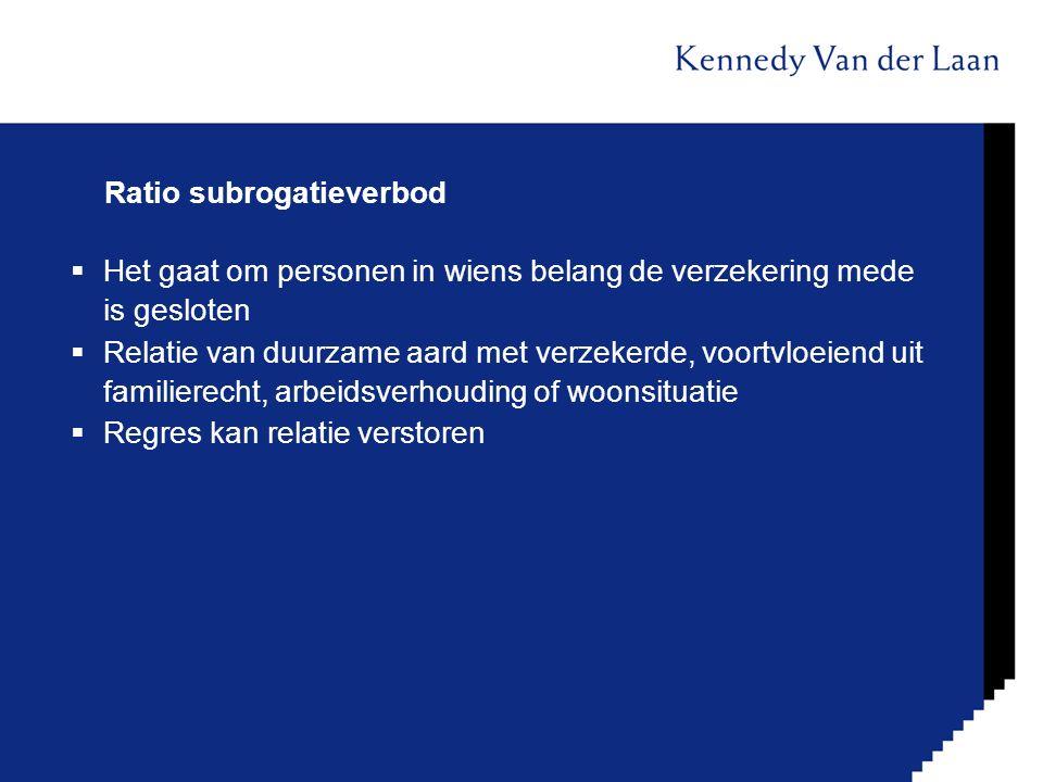 Ratio subrogatieverbod  Het gaat om personen in wiens belang de verzekering mede is gesloten  Relatie van duurzame aard met verzekerde, voortvloeien