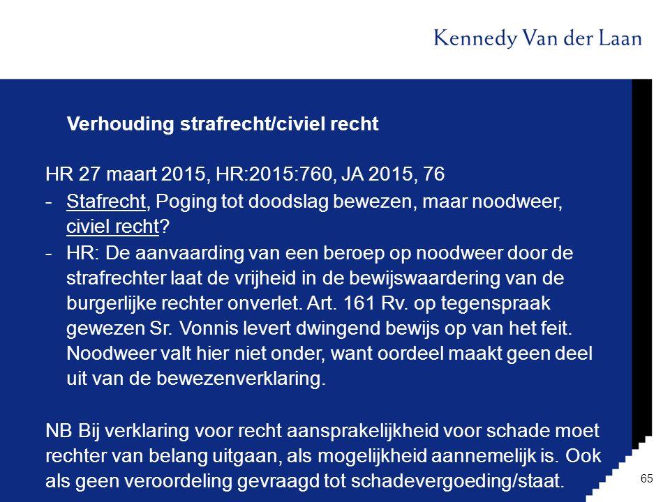 Verhouding strafrecht/civiel recht HR 27 maart 2015, HR:2015:760, JA 2015, 76 -Stafrecht, Poging tot doodslag bewezen, maar noodweer, civiel recht? -H