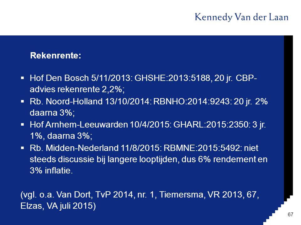 Rekenrente:  Hof Den Bosch 5/11/2013: GHSHE:2013:5188, 20 jr. CBP- advies rekenrente 2,2%;  Rb. Noord-Holland 13/10/2014: RBNHO:2014:9243: 20 jr. 2%