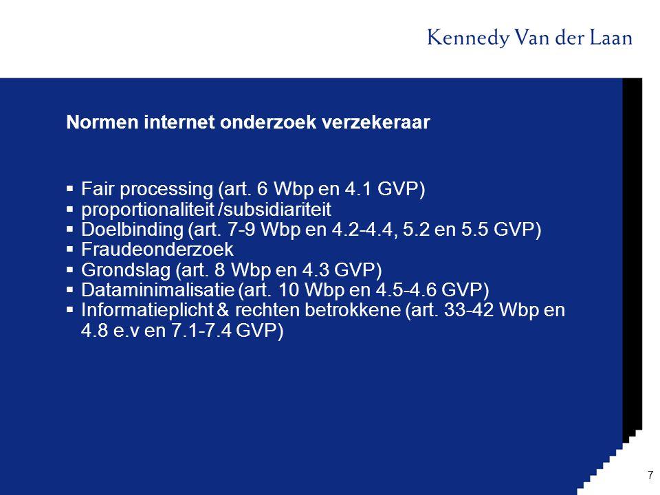 Normen internet onderzoek verzekeraar  Fair processing (art. 6 Wbp en 4.1 GVP)  proportionaliteit /subsidiariteit  Doelbinding (art. 7-9 Wbp en 4.2