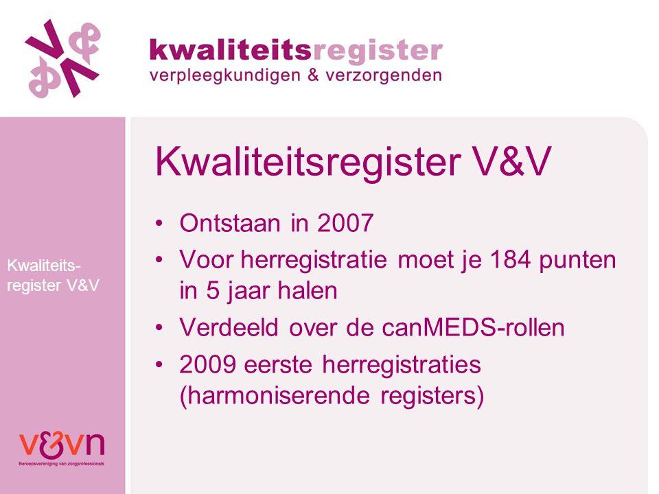 Kwaliteits- register V&V Kwaliteitsregister V&V Ontstaan in 2007 Voor herregistratie moet je 184 punten in 5 jaar halen Verdeeld over de canMEDS-rolle
