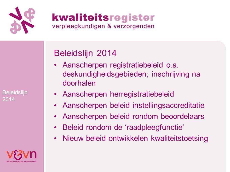 Beleidslijn 2014 Aanscherpen registratiebeleid o.a. deskundigheidsgebieden; inschrijving na doorhalen Aanscherpen herregistratiebeleid Aanscherpen bel