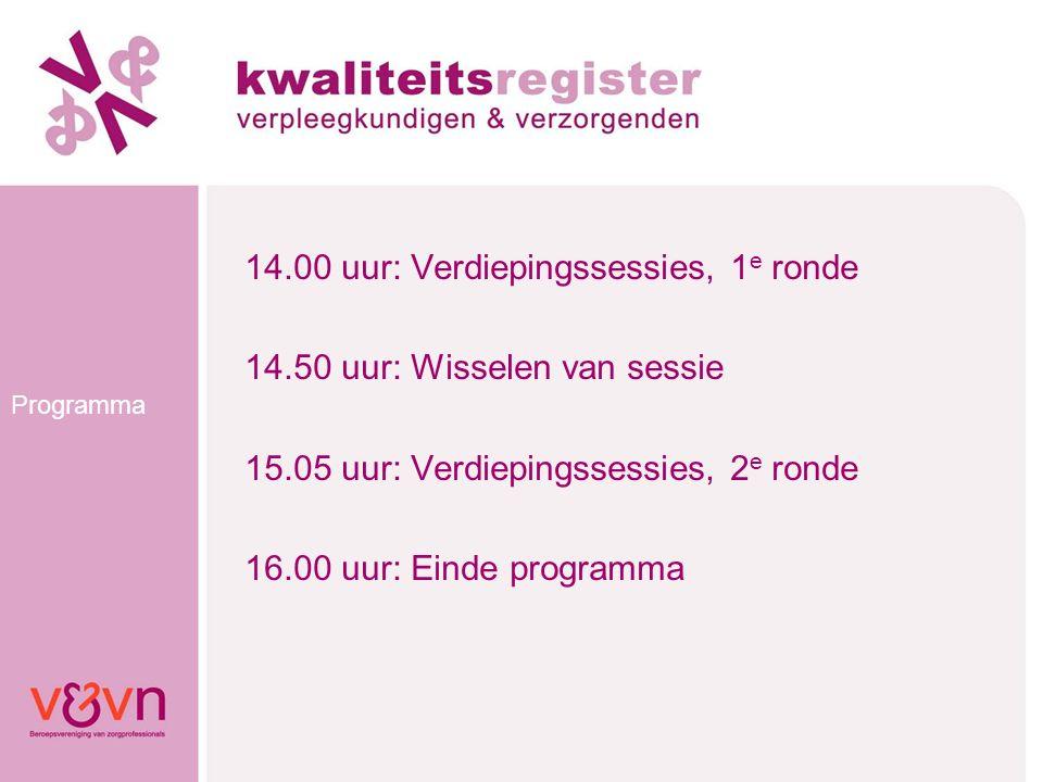 Programma 14.00 uur: Verdiepingssessies, 1 e ronde 14.50 uur: Wisselen van sessie 15.05 uur: Verdiepingssessies, 2 e ronde 16.00 uur: Einde programma
