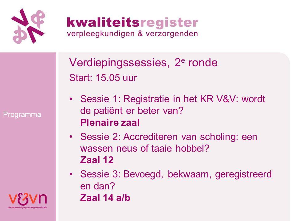 Programma Verdiepingssessies, 2 e ronde Start: 15.05 uur Sessie 1: Registratie in het KR V&V: wordt de patiënt er beter van? Plenaire zaal Sessie 2: A