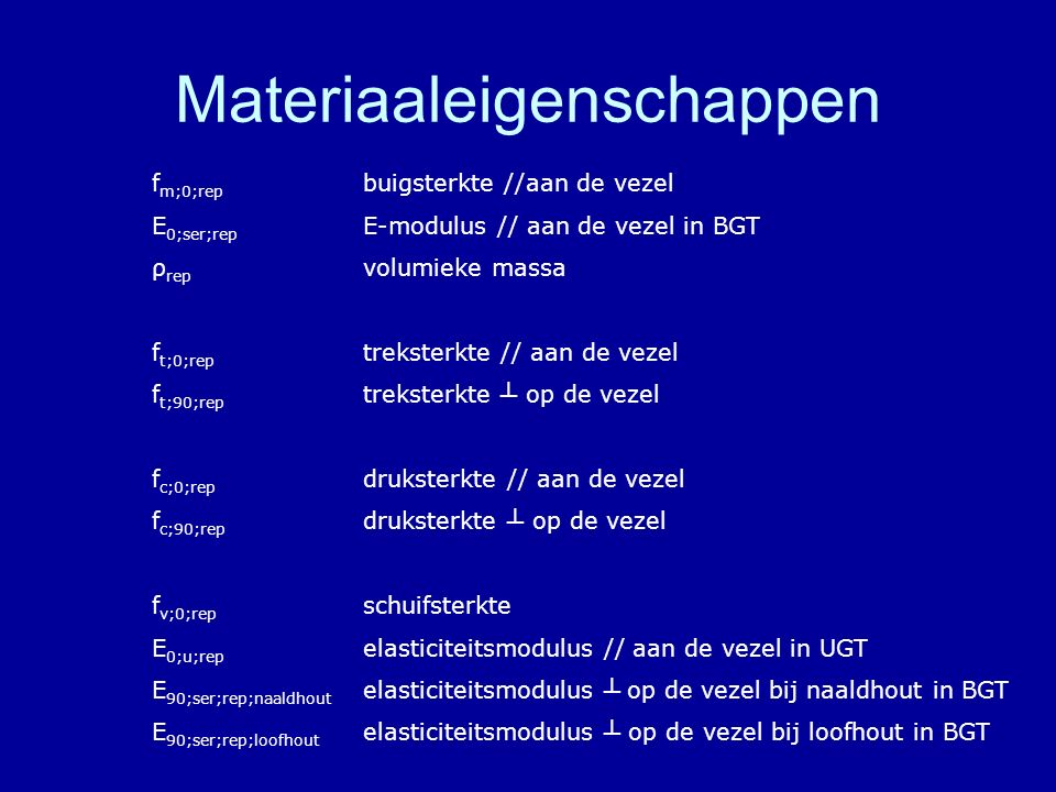 Materiaaleigenschappen f m;0;rep buigsterkte //aan de vezel E 0;ser;rep E-modulus // aan de vezel in BGT ρ rep volumieke massa f t;0;rep treksterkte /