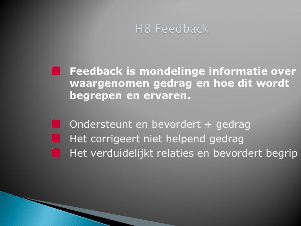 Feedback is mondelinge informatie over waargenomen gedrag en hoe dit wordt begrepen en ervaren.