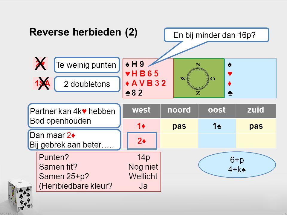 SF2E13 v2.0 14 Reverse herbieden (2) westnoordoostzuid 1♦pas1♠pas ♠♥♦♣♠♥♦♣ ♠♥♦♣♠♥♦♣ Wat heeft partner .