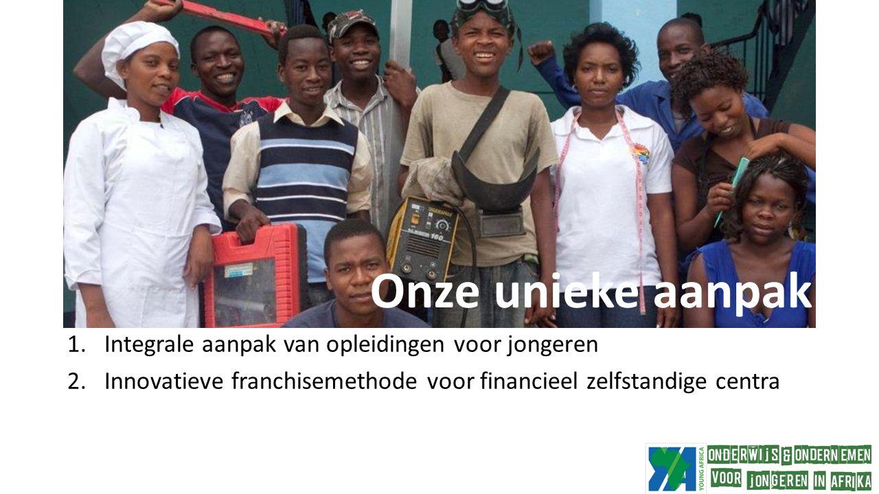 Onze unieke benadering 1.Integrale aanpak van opleidingen voor jongeren 2.Innovatieve franchisemethode voor financieel zelfstandige centra Onze unieke aanpak