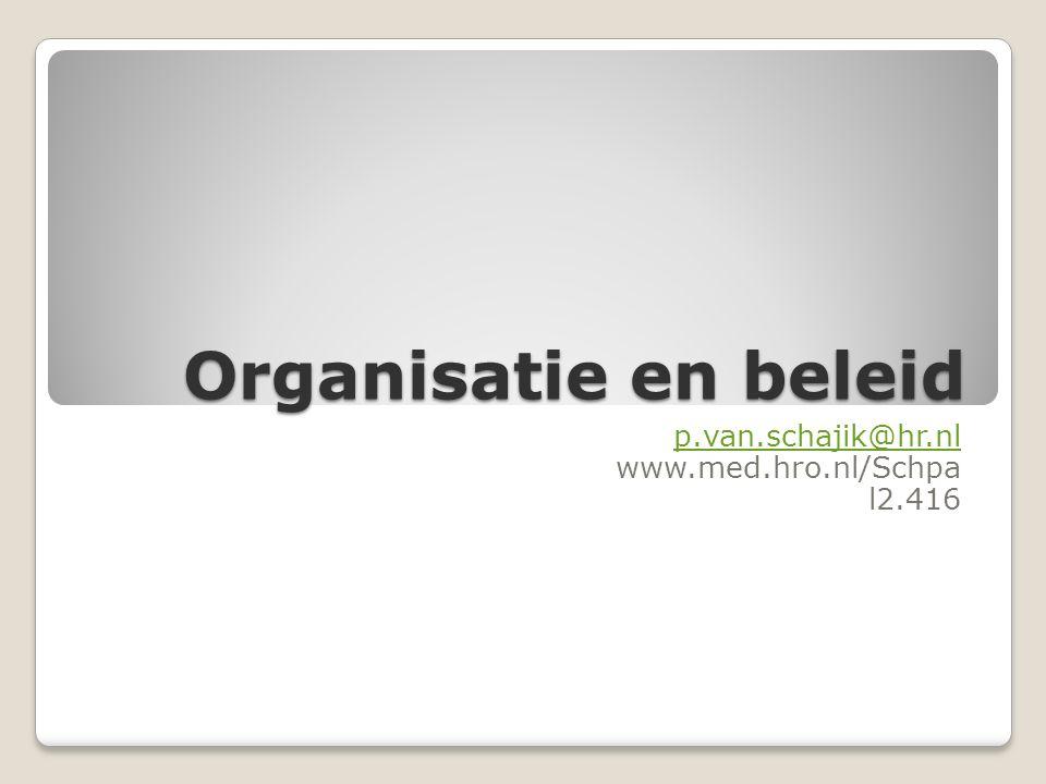 Organisatie en beleid p.van.schajik@hr.nl www.med.hro.nl/Schpa l2.416