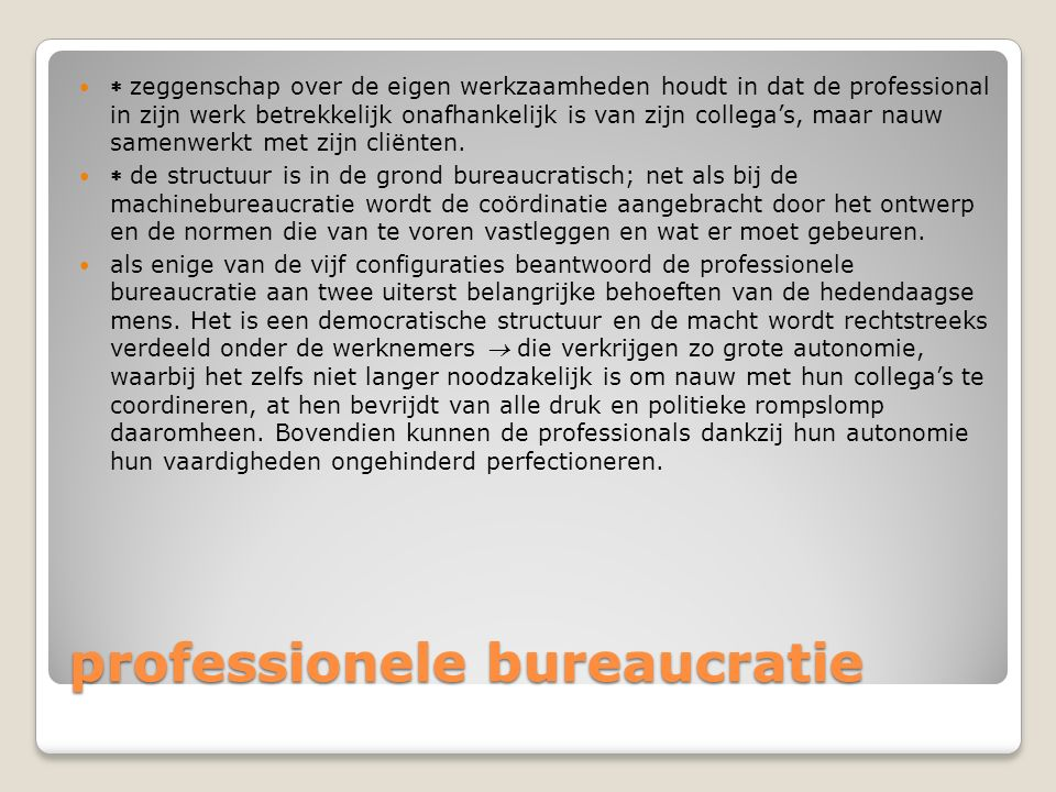 professionele bureaucratie  zeggenschap over de eigen werkzaamheden houdt in dat de professional in zijn werk betrekkelijk onafhankelijk is van zijn
