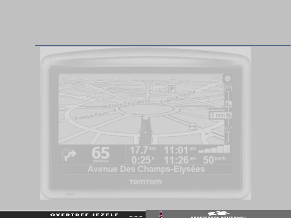 Mijn projectTomTom Aangegeven wordt door de TT: (Aantal kilometer gereden) Aantal kilometer te gaan Aantal uren te gaan Geschatte aankomsttijd (ETA Estimated Time to Arrival) Actuele gemiddelde snelheid Garmin houdt rekening met actuele snelheid (ipv toegestane snelheid)