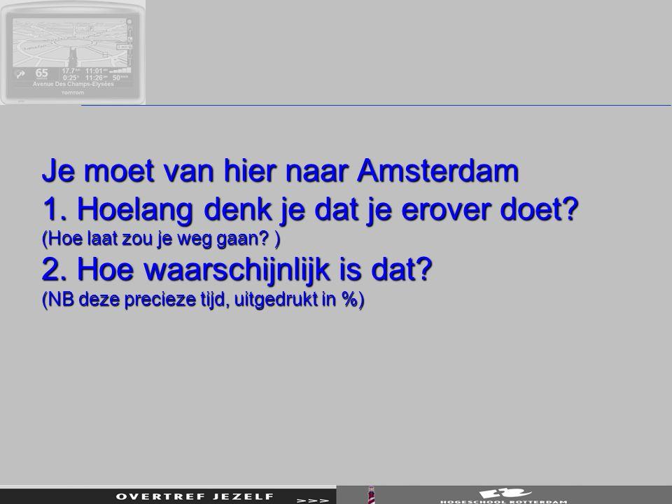 Je moet van hier naar Amsterdam 1. Hoelang denk je dat je erover doet? (Hoe laat zou je weg gaan? ) 2. Hoe waarschijnlijk is dat? (NB deze precieze ti