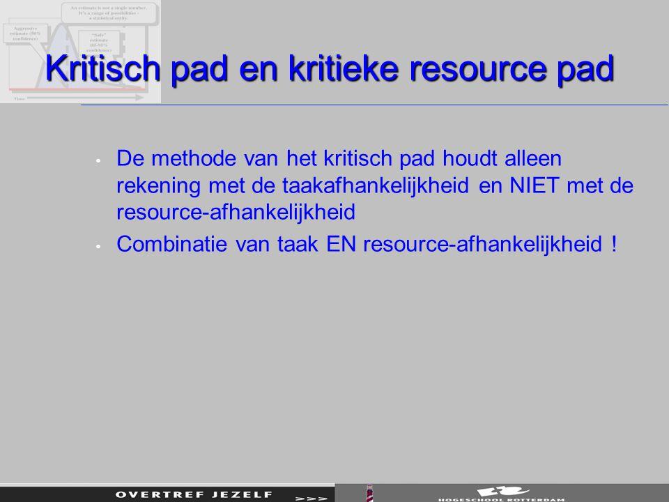 Kritisch pad en kritieke resource pad De methode van het kritisch pad houdt alleen rekening met de taakafhankelijkheid en NIET met de resource-afhanke