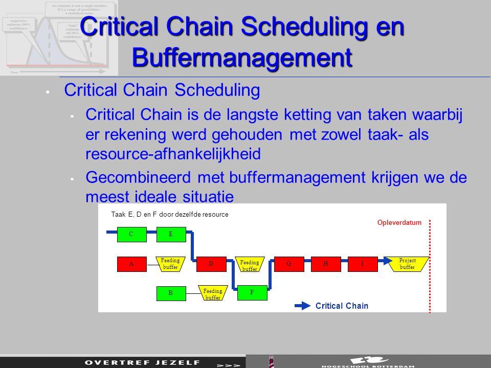 Critical Chain Scheduling en Buffermanagement Critical Chain Scheduling Critical Chain is de langste ketting van taken waarbij er rekening werd gehoud