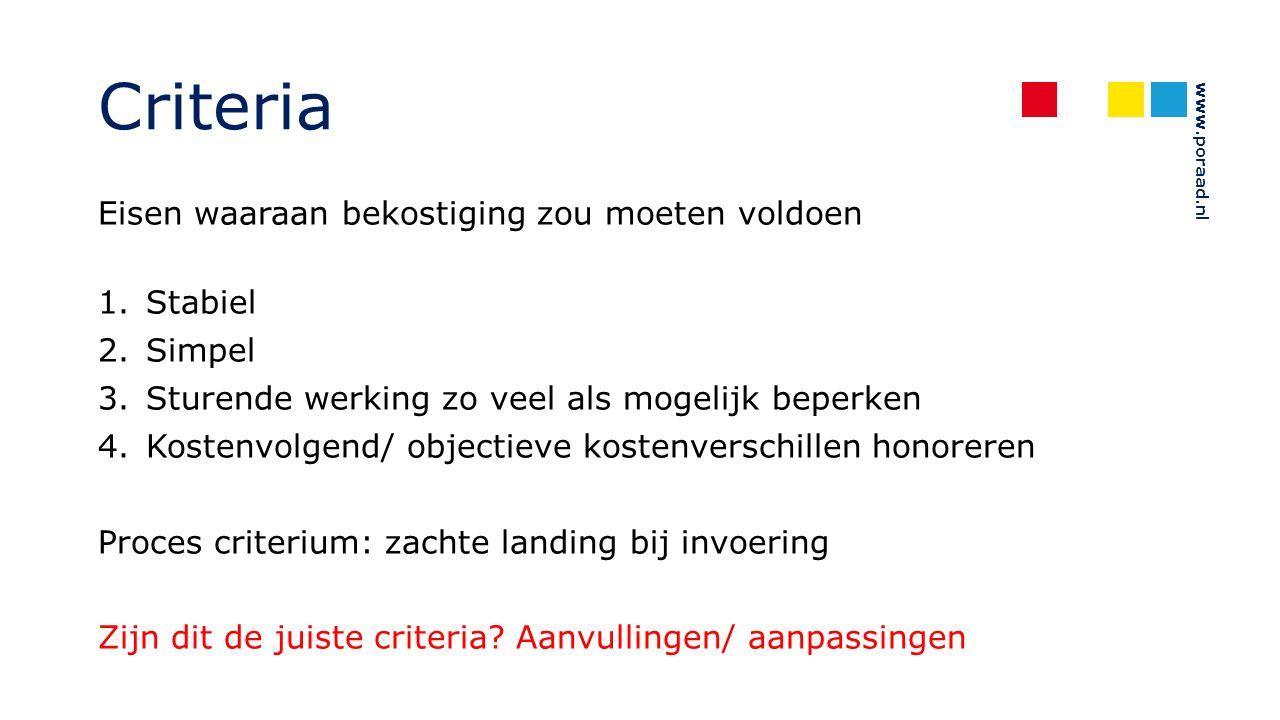 www.poraad.nl Criteria Eisen waaraan bekostiging zou moeten voldoen 1.Stabiel 2.Simpel 3.Sturende werking zo veel als mogelijk beperken 4.Kostenvolgend/ objectieve kostenverschillen honoreren Proces criterium: zachte landing bij invoering Zijn dit de juiste criteria.