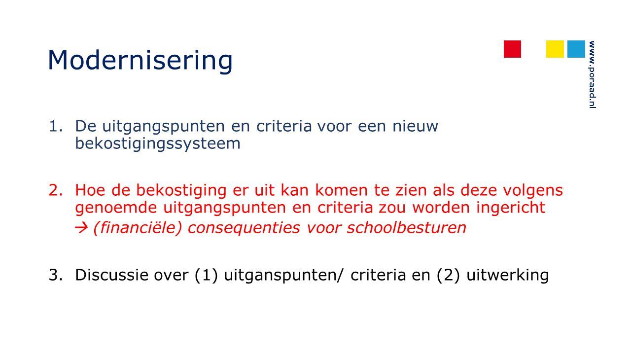 www.poraad.nl Modernisering 1.De uitgangspunten en criteria voor een nieuw bekostigingssysteem 2.Hoe de bekostiging er uit kan komen te zien als deze volgens genoemde uitgangspunten en criteria zou worden ingericht  (financiële) consequenties voor schoolbesturen 3.Discussie over (1) uitganspunten/ criteria en (2) uitwerking