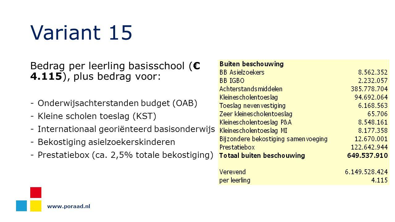 www.poraad.nl Variant 15 Bedrag per leerling basisschool (€ 4.115), plus bedrag voor: -Onderwijsachterstanden budget (OAB) -Kleine scholen toeslag (KST) -Internationaal georiënteerd basisonderwijs -Bekostiging asielzoekerskinderen -Prestatiebox (ca.