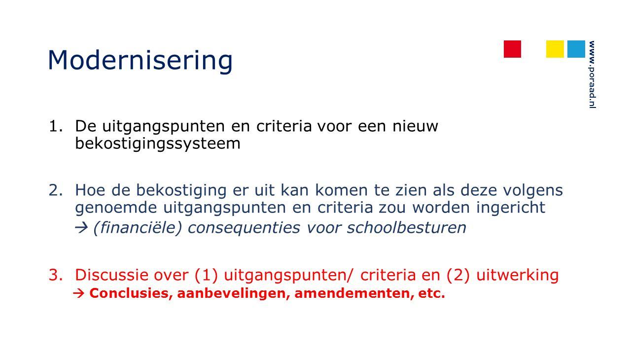 www.poraad.nl Modernisering 1.De uitgangspunten en criteria voor een nieuw bekostigingssysteem 2.Hoe de bekostiging er uit kan komen te zien als deze volgens genoemde uitgangspunten en criteria zou worden ingericht  (financiële) consequenties voor schoolbesturen 3.Discussie over (1) uitgangspunten/ criteria en (2) uitwerking  Conclusies, aanbevelingen, amendementen, etc.