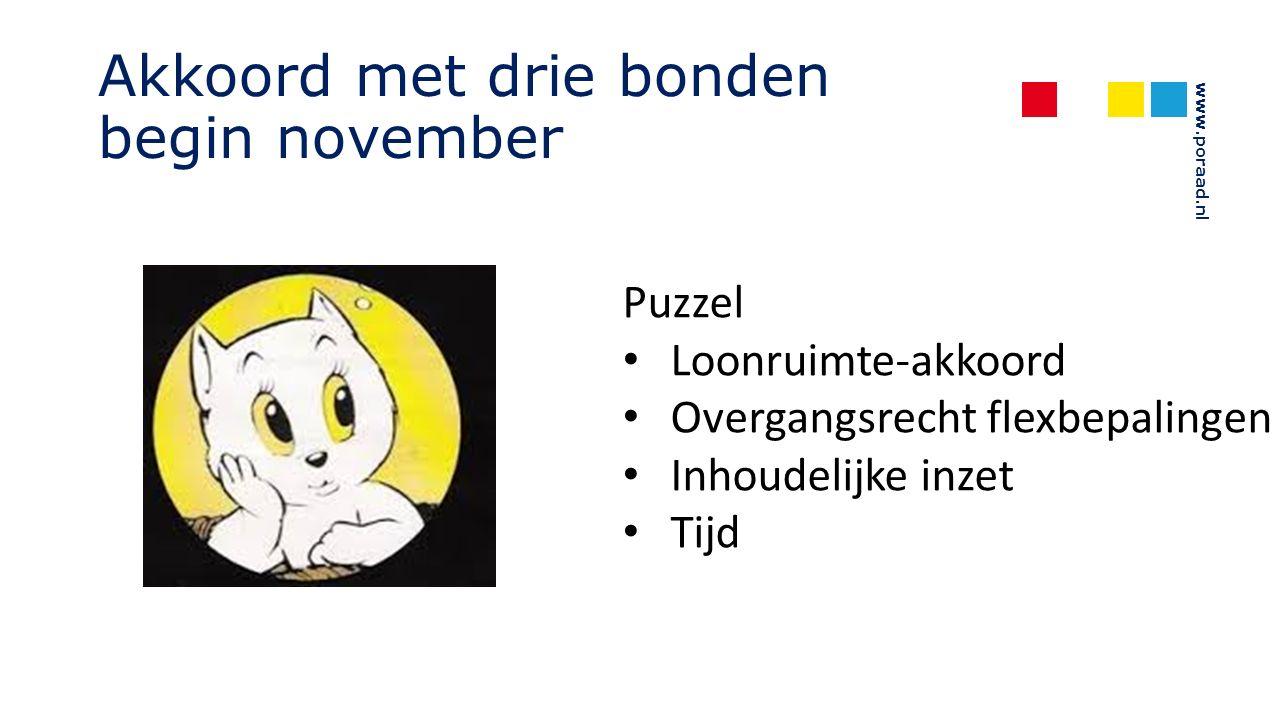 www.poraad.nl Akkoord met drie bonden begin november Puzzel Loonruimte-akkoord Overgangsrecht flexbepalingen Inhoudelijke inzet Tijd