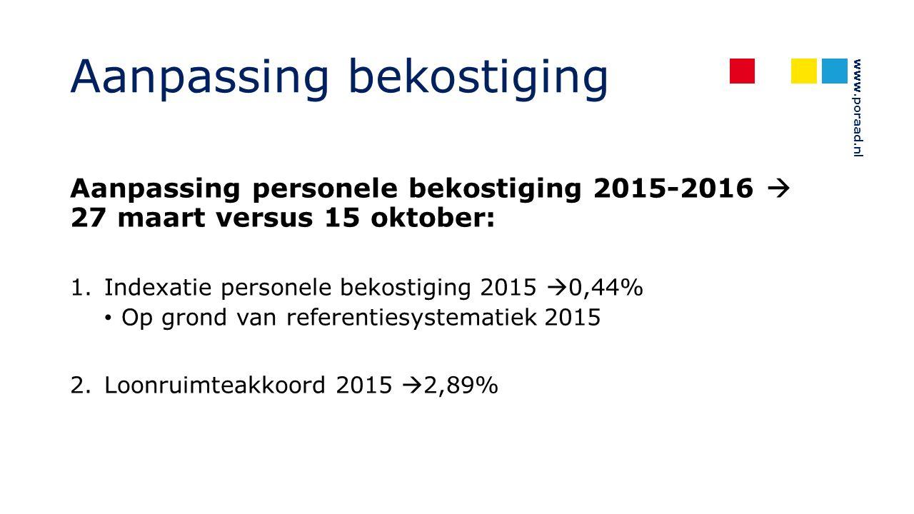 www.poraad.nl Aanpassing bekostiging Aanpassing personele bekostiging 2015-2016  27 maart versus 15 oktober: 1.Indexatie personele bekostiging 2015  0,44% Op grond van referentiesystematiek 2015 2.Loonruimteakkoord 2015  2,89%