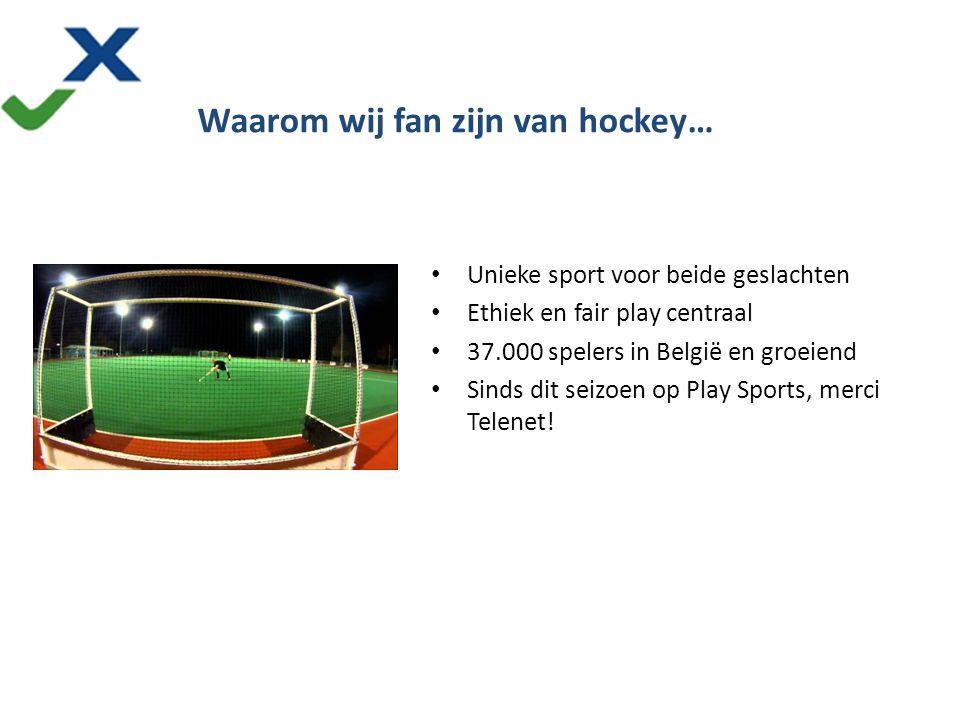 Unieke sport voor beide geslachten Ethiek en fair play centraal 37.000 spelers in België en groeiend Sinds dit seizoen op Play Sports, merci Telenet.