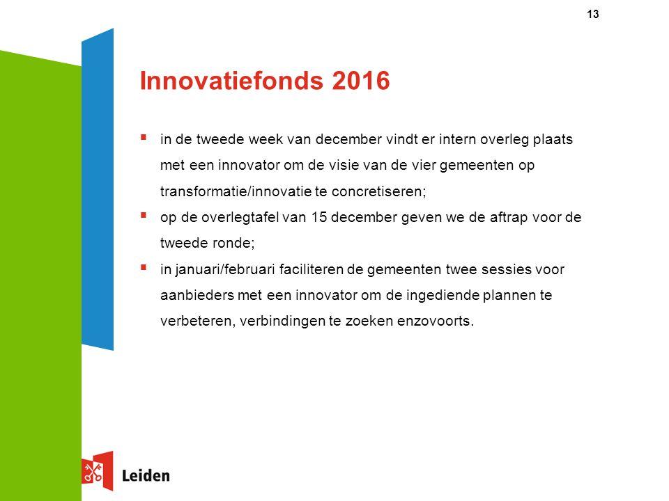 Innovatiefonds 2016  in de tweede week van december vindt er intern overleg plaats met een innovator om de visie van de vier gemeenten op transformatie/innovatie te concretiseren;  op de overlegtafel van 15 december geven we de aftrap voor de tweede ronde;  in januari/februari faciliteren de gemeenten twee sessies voor aanbieders met een innovator om de ingediende plannen te verbeteren, verbindingen te zoeken enzovoorts.