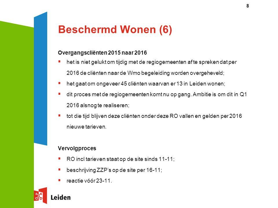 Beschermd Wonen (6) Overgangscliënten 2015 naar 2016  het is niet gelukt om tijdig met de regiogemeenten af te spreken dat per 2016 de cliënten naar de Wmo begeleiding worden overgeheveld;  het gaat om ongeveer 45 cliënten waarvan er 13 in Leiden wonen;  dit proces met de regiogemeenten komt nu op gang.