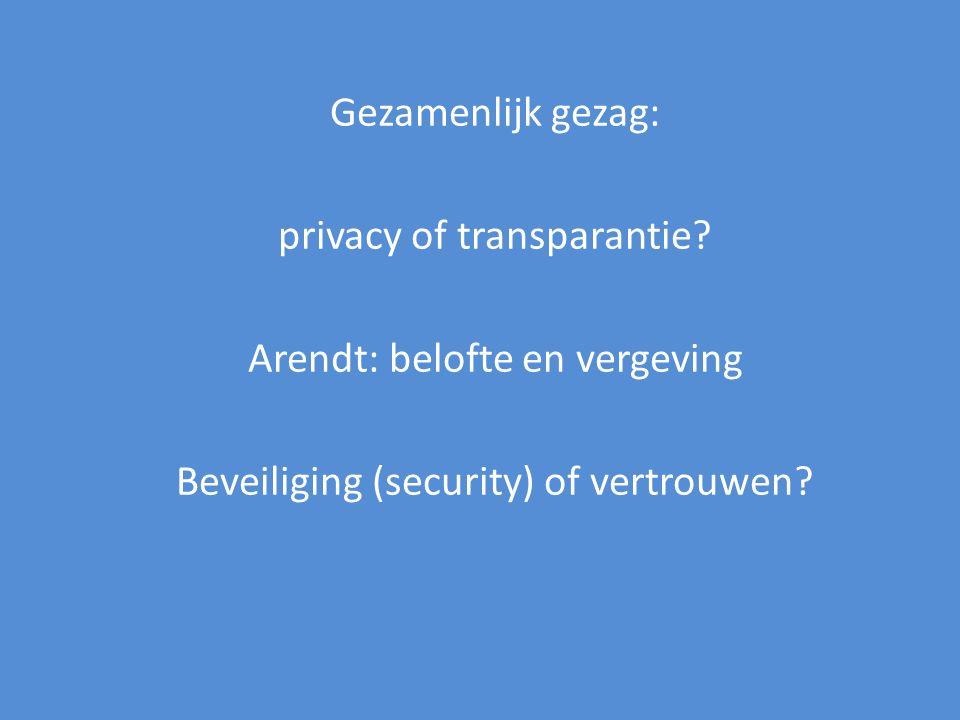 Gezamenlijk gezag: privacy of transparantie? Arendt: belofte en vergeving Beveiliging (security) of vertrouwen?