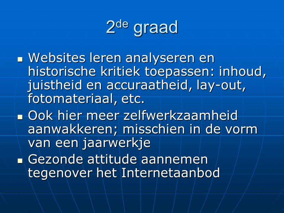 2 de graad Websites leren analyseren en historische kritiek toepassen: inhoud, juistheid en accuraatheid, lay-out, fotomateriaal, etc. Websites leren