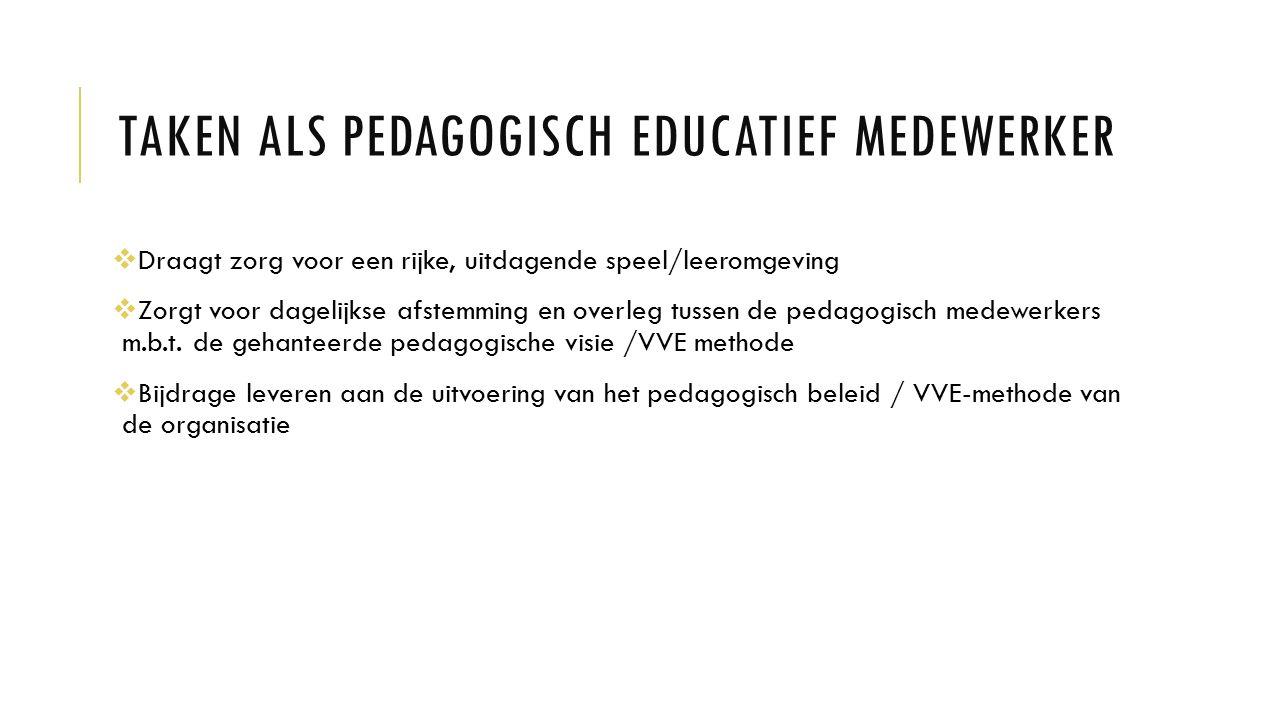 TAKEN ALS PEDAGOGISCH EDUCATIEF MEDEWERKER  Draagt zorg voor een rijke, uitdagende speel/leeromgeving  Zorgt voor dagelijkse afstemming en overleg t
