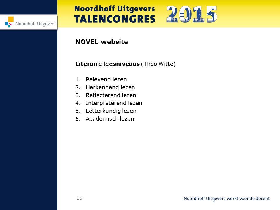 15 NOVEL website Literaire leesniveaus (Theo Witte) 1.Belevend lezen 2.Herkennend lezen 3.Reflecterend lezen 4.Interpreterend lezen 5.Letterkundig lez